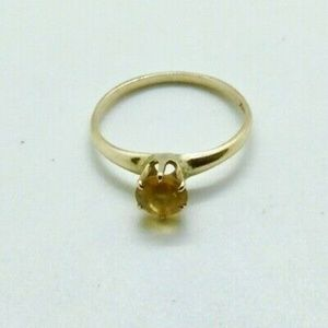 Victorian 14k Solid Gold Yellow Sapphire Ring